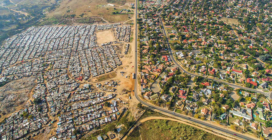 Lines Dividing Rich And Poor Photographed With Drones thumbnail