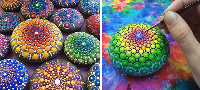 Artist Paints Colorful Mandalas On Ocean Stones. #4 Is Incredibly Beautiful, But #11…WHOA. thumbnail