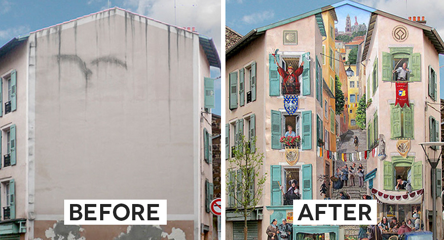 French Artist Touches Up The Walls Of Dull Buildings With Hyper-Realistic Paintings thumbnail