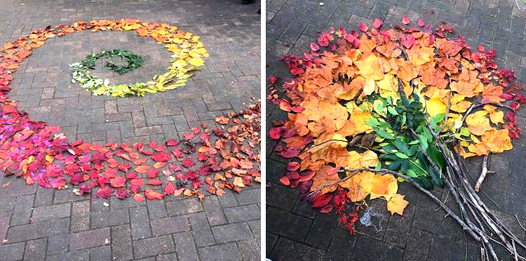 Japanese People Use Fallen Leaves To Create Colorful Pieces Of Art thumbnail