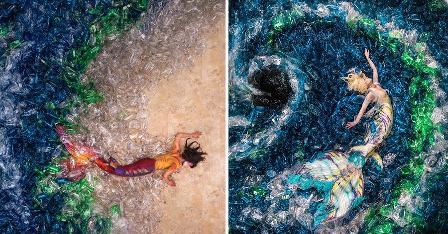 Activist Photographer Depicts Mermaids Swimming In A Sea Of 10,000 Plastic Bottles thumbnail