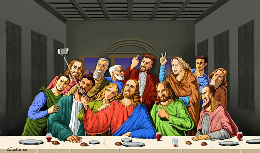 Cartoonist Creates Satirical Illustrations Of Religious Icons Taking Ridiculous Selfies thumbnail