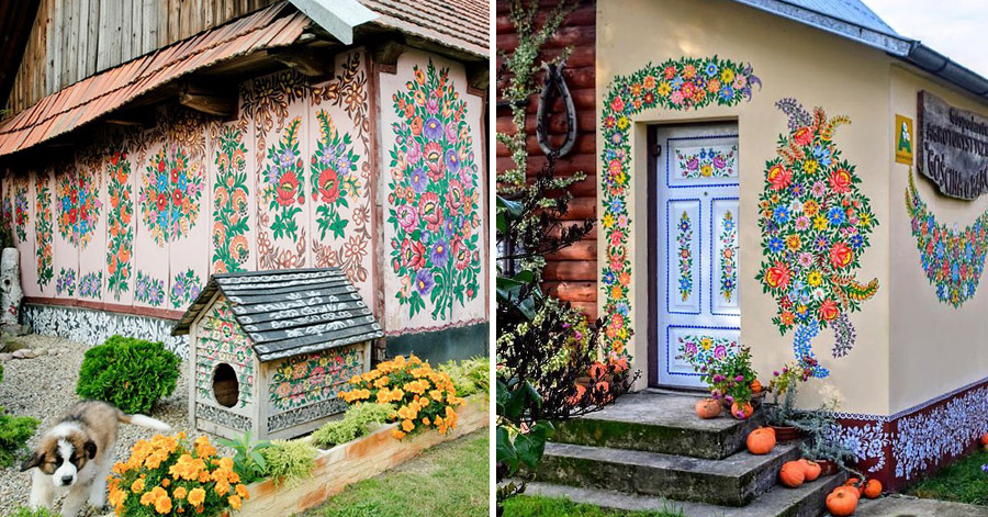 All Houses In This Polish Village Are Covered In Beautiful And Bright Colored Flower Paintings thumbnail