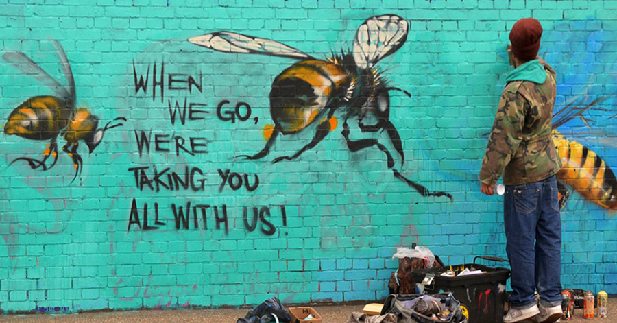 Street Artist Educates People About The Fatal Impacts That The Death Of Bees Has On Everyone Of Us thumbnail