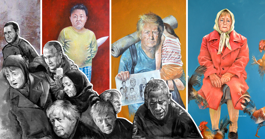 Syrian Artist Turns World Leaders Into Vulnerable Refugees In His Powerful Portrait Series thumbnail