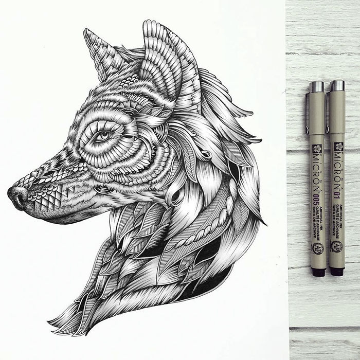 17 wonderfully unique animal drawings that only consist of for Unique sketches