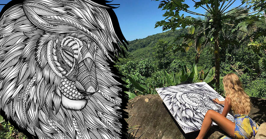 17 Wonderfully Unique Animal Drawings That Only Consist Of Complex Patterns thumbnail
