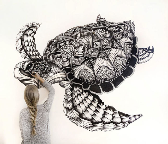 17 Wonderfully Unique Animal Drawings That Only Consist Of