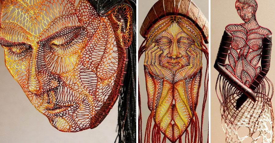 Creative Artist Forms Stunningly Detailed Sculptures Out Of Lace And Wood thumbnail